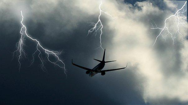 Aircraft, Clouds, Sky, Storm, Lightning, Discharge
