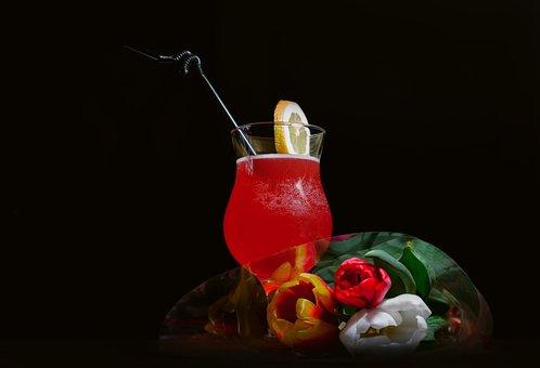 Cocktail, Flowers, Drink, Juice, Background, Bar