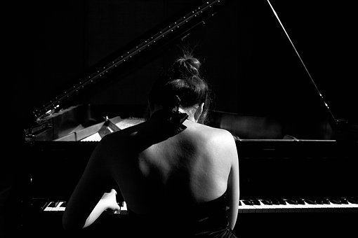 Piano, Black And White, Player, Instrument, Black