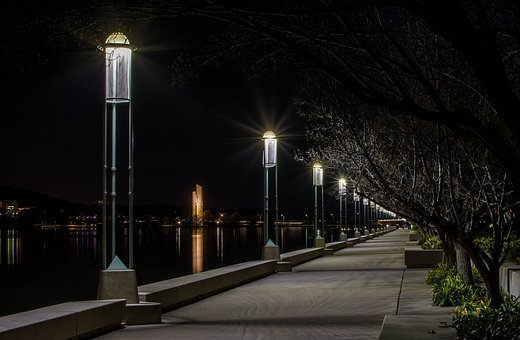 Boardwalk, Lights, Lake, Night, Reflection, Outdoor