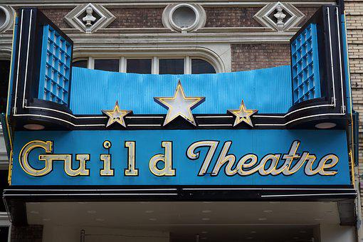 Theater Marquee, Sign, Theater, Marquee, Cinema, City