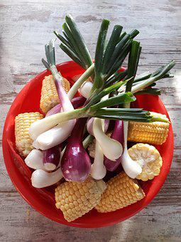 Vegetables, Corn, Summer, Barbecue, Onion, Shell
