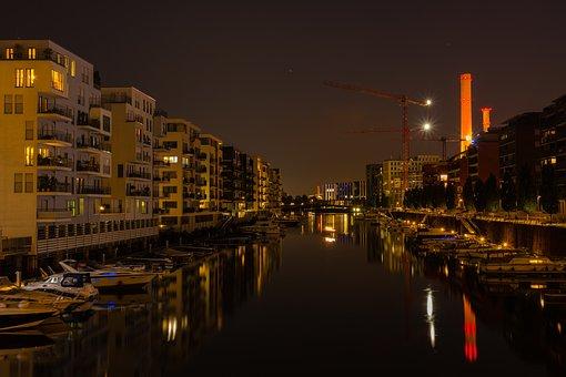 Port, Architecture, Lighting, Dusk