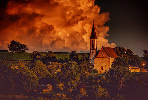 Mountain Church, Kaiserstuhl, Evening Sun, Church