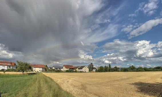 Rainbow, Field, Sky, Landscape, Rural, Enghien