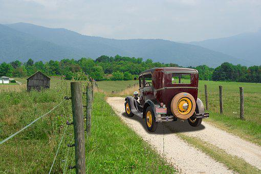 Antique, Model A, Ford, Blue Ridge Mountains, Virginia