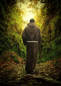 Monk, Forest, Path, Religion, Temple, Nature, Mountain