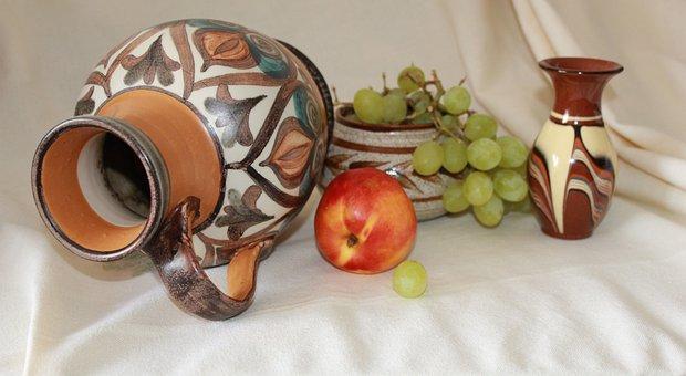 Vase, Jug, Pitcher, Ceramic, Fruit, Grape, Peach