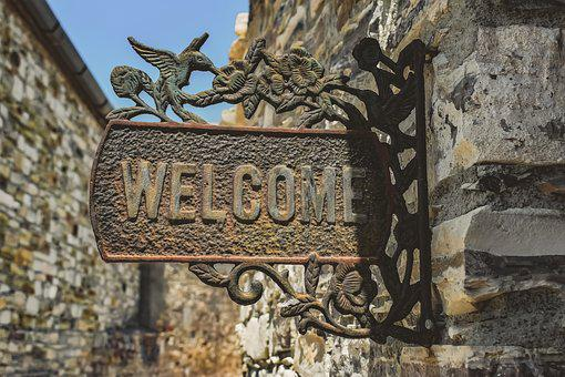 Welcome, Sign, Greeting, Entrance, Vintage, Hospitality