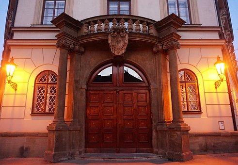 Palace, Door, Prague, Czechia, House, Evening, Baroque