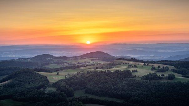 Horizon, Mountains, Sunset, Nature, Rhön, Dusk