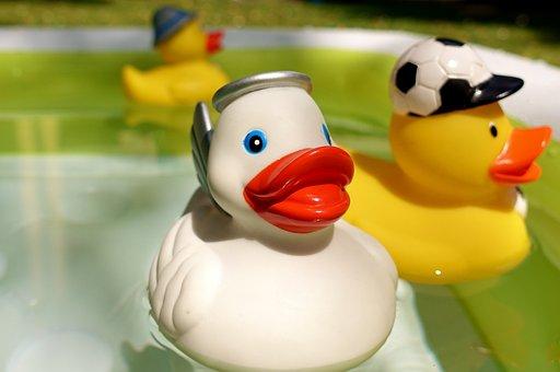 Rubber Ducks, Quietscheenten, Yellow, White, Toys