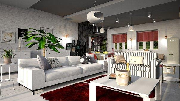 Red, White, Black, Living, Room, Plant, Flowers
