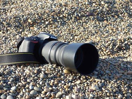 Camera, Reflex, Nikon, Stones, Approach