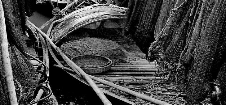 Fisherman, Boat, River