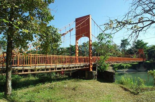 Laos, Vang Vieng, Bridge, Suspension Bridge, Ropes