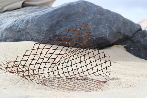 Beach, Steel Mesh, Sand, Coast, Water, Holiday, Sea