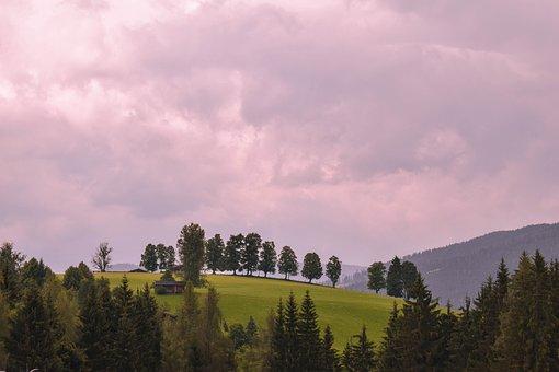 Trees, Hill, Landscape, Sky, Clouds, Austria, Alpine