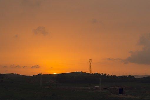 In Rural Areas, Sunset, Sun, Orange Sky, Sky, Beautiful