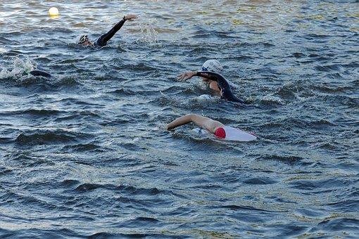 Triathlon, Hamburg, Alster, Swim, Crawl, Athletes