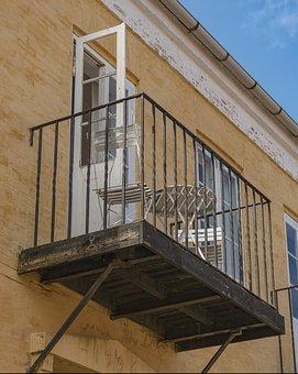Balcony, Table, Chair, Railing, Home