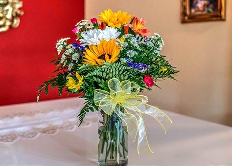 Flower Bouquet, Flower Arrangement, Vase, Colorful