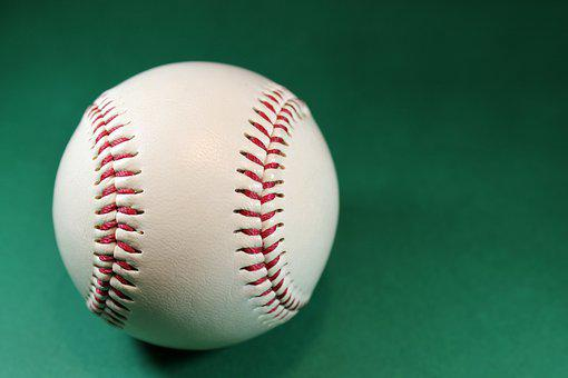 Baseball, About, White, Seam, Red, Background, Green