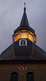 Steeple, Wuppertal, Cronenberg, Abendstimmung, Sky