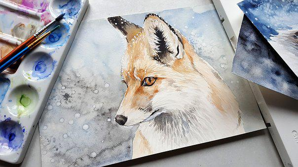 Animal, Fox, Nature, Painting, Art, Colors