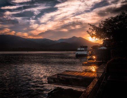 Lake, Boat, Evening, Sunset, Water, Nature, Sky