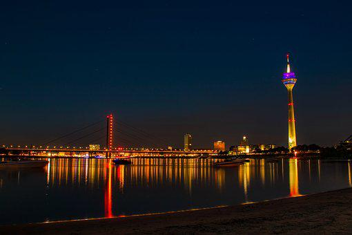 Düsseldorf, Rhine, Beach, Bridge, City, Water