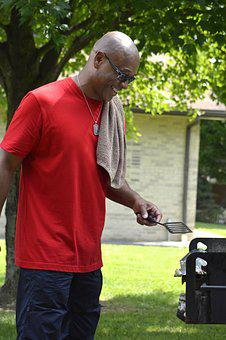 Bald, Bbq, Cooking, Glasses, Grass, Green, Grill