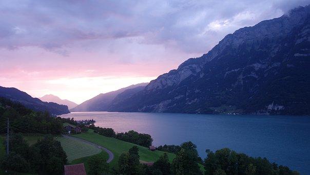 Evening, Mood, Light, Dark, Lake, Lake Walen