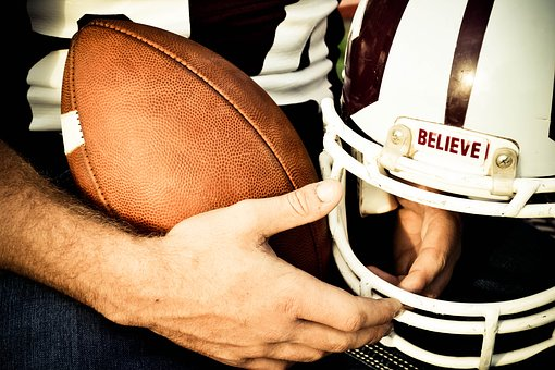 Believe, Football, Helmet, Sport, Game, Field, Ball