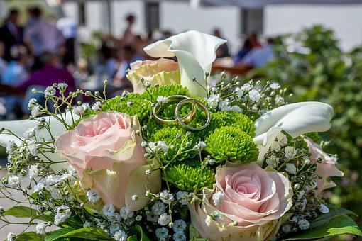 Wedding, Rings, Bridal Bouquet, Jewellery, Before, Gold