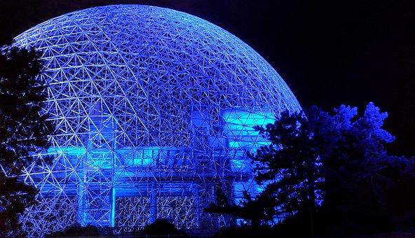Biosphere, Night, Sphere, Illumination
