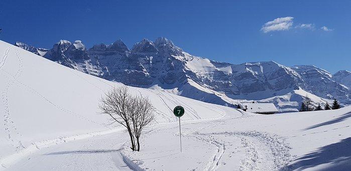 Ride, Mountain, Snow, Switzerland, Valais
