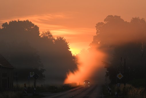 Münsterland, Sunrise, Road, Fog