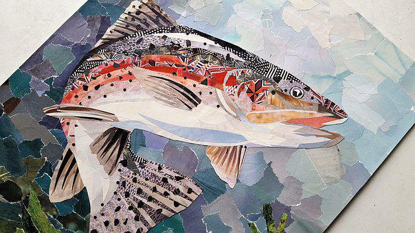Art, Collage, Fish, Paper, Rainbow, Color, Nature