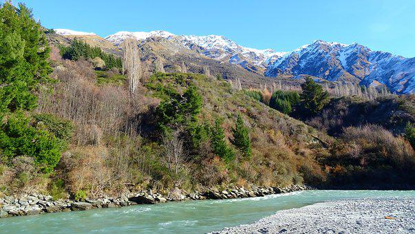 New Zealand, River, Mountains, Nature, Landscape