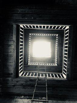 Black And White, Rope Ladder, Floors, Unusual View, Top