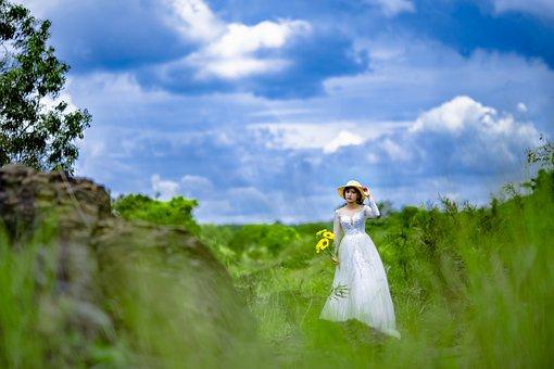 Scenery, Bride, Green Meadows