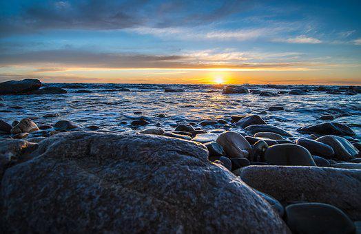 Sunset, Rocks, Beach, Sea, Nature, Water, Landscape