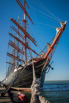 Sailing Vessel, Three Masted, Sedov, Ship, Water, Sea