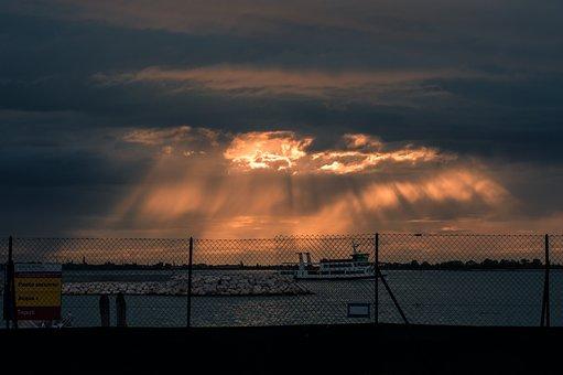 Sunset, Stormy, Sky, Nature, Landscape, Clouds, Evening