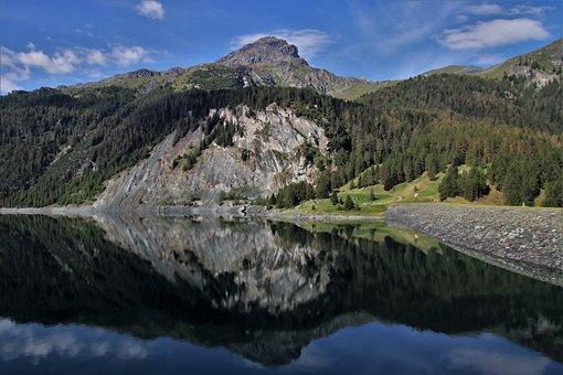 The Alps, Heart, Mountains, Rocks, Lake, Reflection
