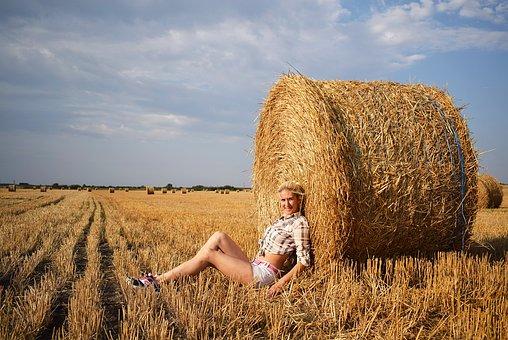 Bali, Harvest, Hay, Woman, Summer