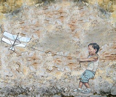 Stone, Brick, Old, Wall, Graphite, Kid, Kite, Parrot