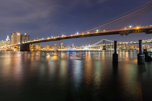 Brooklyn Bridge, Night, Lights, Bridge, City, Urban