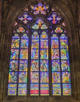Glass Window, Cathedral, Church, Prague, Czech Republic